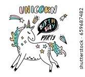 unicorn party illustration   Shutterstock .eps vector #659687482