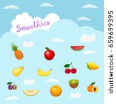 heavenly smoothie logo. with... | Shutterstock .eps vector #659699395
