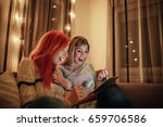 photo of two young amazed women ... | Shutterstock . vector #659706586