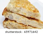 some pieces of typical spanish tortilla de patatas on a plate - stock photo