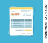 invoice icon isolated on a blue ... | Shutterstock .eps vector #659716882