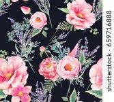 watercolor lavender and garden...   Shutterstock . vector #659716888