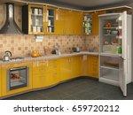 big bright kitchen with... | Shutterstock . vector #659720212