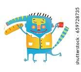fun crazy whimsical monster... | Shutterstock .eps vector #659728735