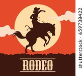 rodeo poster with cowgirl... | Shutterstock .eps vector #659738422