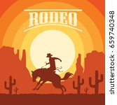 rodeo poster with cowboy... | Shutterstock .eps vector #659740348