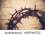 crown of thorns with jesus... | Shutterstock . vector #659744722