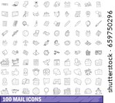 100 mail icons set in outline... | Shutterstock . vector #659750296