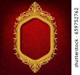 vintage gold picture frame on... | Shutterstock .eps vector #659752762