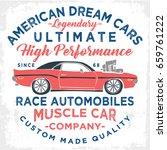 vintage american muscle car...   Shutterstock .eps vector #659761222