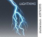 lightning and thunder bolt or... | Shutterstock .eps vector #659765995