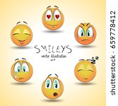 set of emoticon smileys.... | Shutterstock .eps vector #659778412