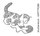 Hand Draw Of Cat In Zentangle...