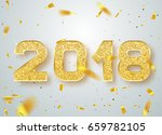 2018 happy new year confetti... | Shutterstock .eps vector #659782105