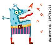 dog monster in pants screaming. ... | Shutterstock .eps vector #659786035
