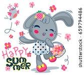 cute rabbit girl in polka dot... | Shutterstock .eps vector #659794486
