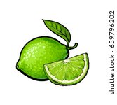 whole and slice of unpeeled... | Shutterstock .eps vector #659796202