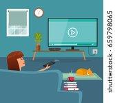 woman watching tv | Shutterstock .eps vector #659798065