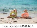 couple friends  asian women ... | Shutterstock . vector #659825416