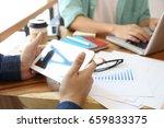 good deal  cheerful young man... | Shutterstock . vector #659833375