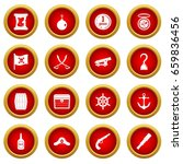 pirate icon red circle set... | Shutterstock . vector #659836456