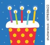 birthday cake with candles | Shutterstock .eps vector #659838622