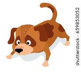 cute cartoon dog sniffing.... | Shutterstock .eps vector #659853052