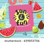 sun and fun lettering card on... | Shutterstock .eps vector #659853706