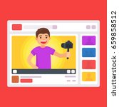 cute manvideo bloggers. blogger ... | Shutterstock .eps vector #659858512