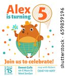 happy birthday vector card.... | Shutterstock .eps vector #659859196