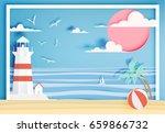 beautiful beach paper art style ... | Shutterstock .eps vector #659866732