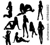 isolated  silhouette girl sexy ... | Shutterstock . vector #659866882