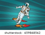 the astronaut is flying on a... | Shutterstock .eps vector #659868562