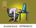 businessman sleeping at the... | Shutterstock .eps vector #659868622
