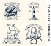 set of engraved vintage  hand... | Shutterstock .eps vector #659870452