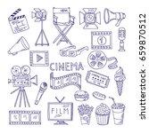 cinematography doodle set.... | Shutterstock .eps vector #659870512