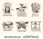 set of engraved vintage  hand... | Shutterstock .eps vector #659870632