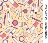 seamless pattern with makeup... | Shutterstock .eps vector #659892562