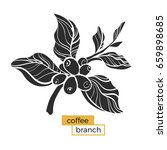 black branch of coffee tree... | Shutterstock .eps vector #659898685