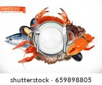 sea food logo. fish  crab ...   Shutterstock .eps vector #659898805