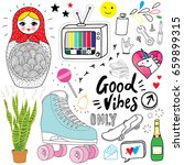 hand drawn good vibes doodles | Shutterstock .eps vector #659899315