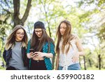 three cute young girls taking a ... | Shutterstock . vector #659900182