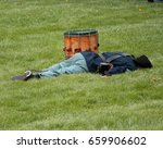 Small photo of Wounded Union Soldier - Civil War Reenactment