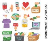 donate money set outline icons... | Shutterstock .eps vector #659906722