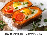 healthy baked sweet potato with ... | Shutterstock . vector #659907742