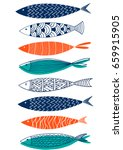 pattern of fish in the style of ... | Shutterstock .eps vector #659915905