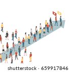 group of people following an... | Shutterstock .eps vector #659917846