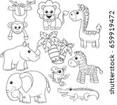 jungle animals. lion  elephant  ...   Shutterstock .eps vector #659919472