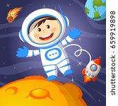 astronaut in space | Shutterstock .eps vector #659919898