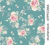 seamless rose pattern and... | Shutterstock . vector #659921866